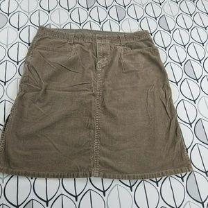 North Face Corduroy Brown Midi Skirt w/ side slits